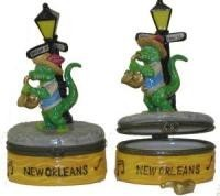 Gator Playing Sax Porcelain Trinket Box