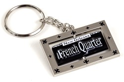 Bourbon St. Sign Metal Swivel Keyring