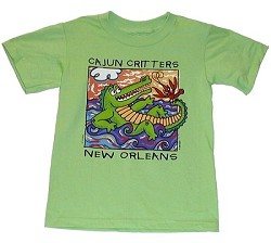 Cajun Critter Kid Shirt Lime Youth Large
