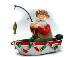 Santa Fishing Ornament
