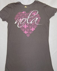 FDL Heart Nola Ladies Tee Grey Medium