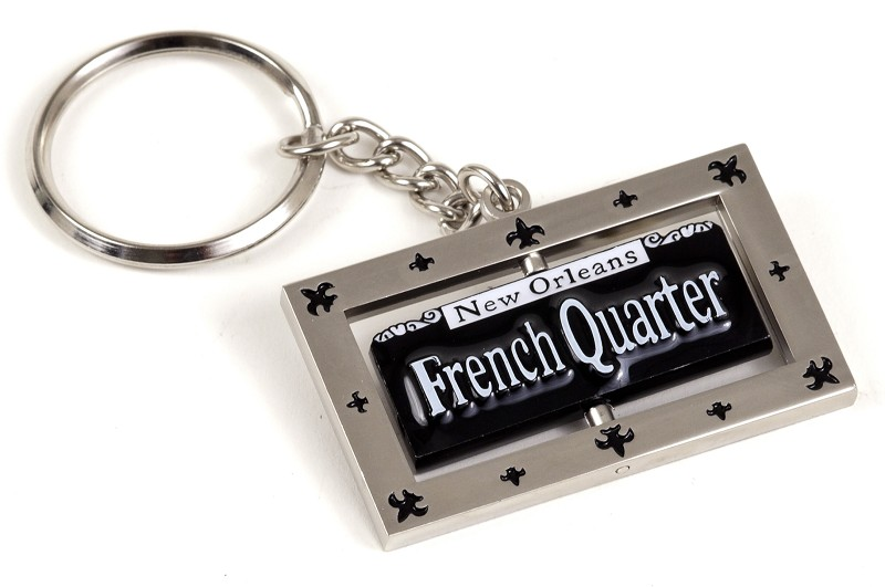 Bourbon St. Sign Metal Swivel Keyring,46SSS