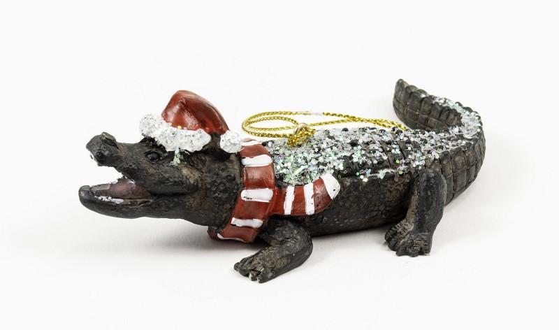Alligator with Santa Hat Red Ornament,M28