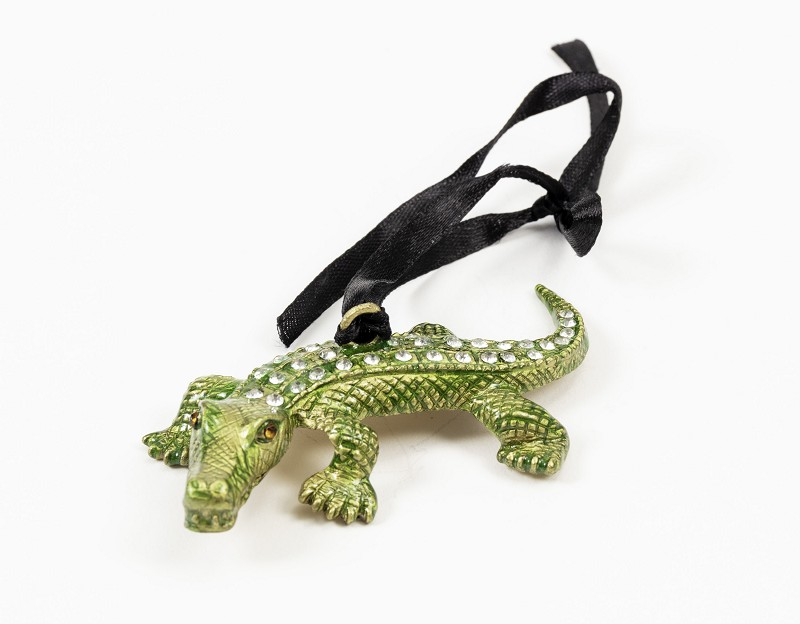Pewter Jeweled Alligator,M53