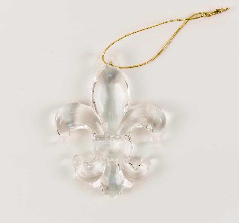 Glass Fleur de Lis Ornament,M62