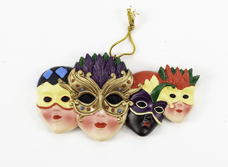 4 Mask Mardi Gras Ornament,3733