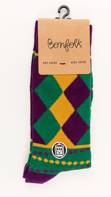 Mardi Gras Bonfolk Sock