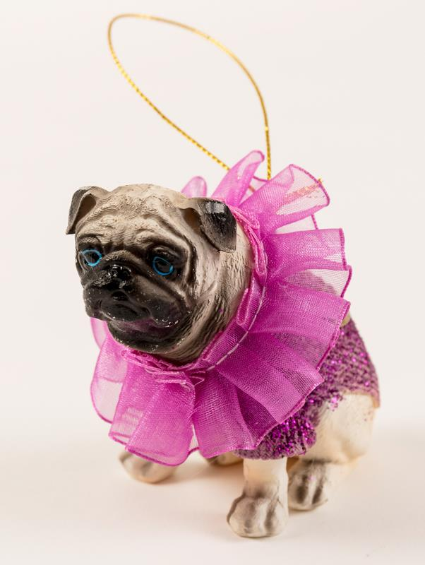 Pug with Costume Ornament,S01