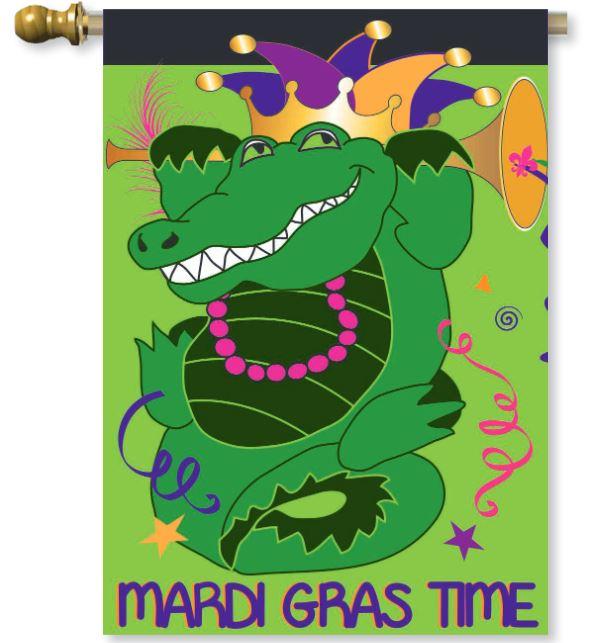 Burlap Mardi Gras Time Flag,01926