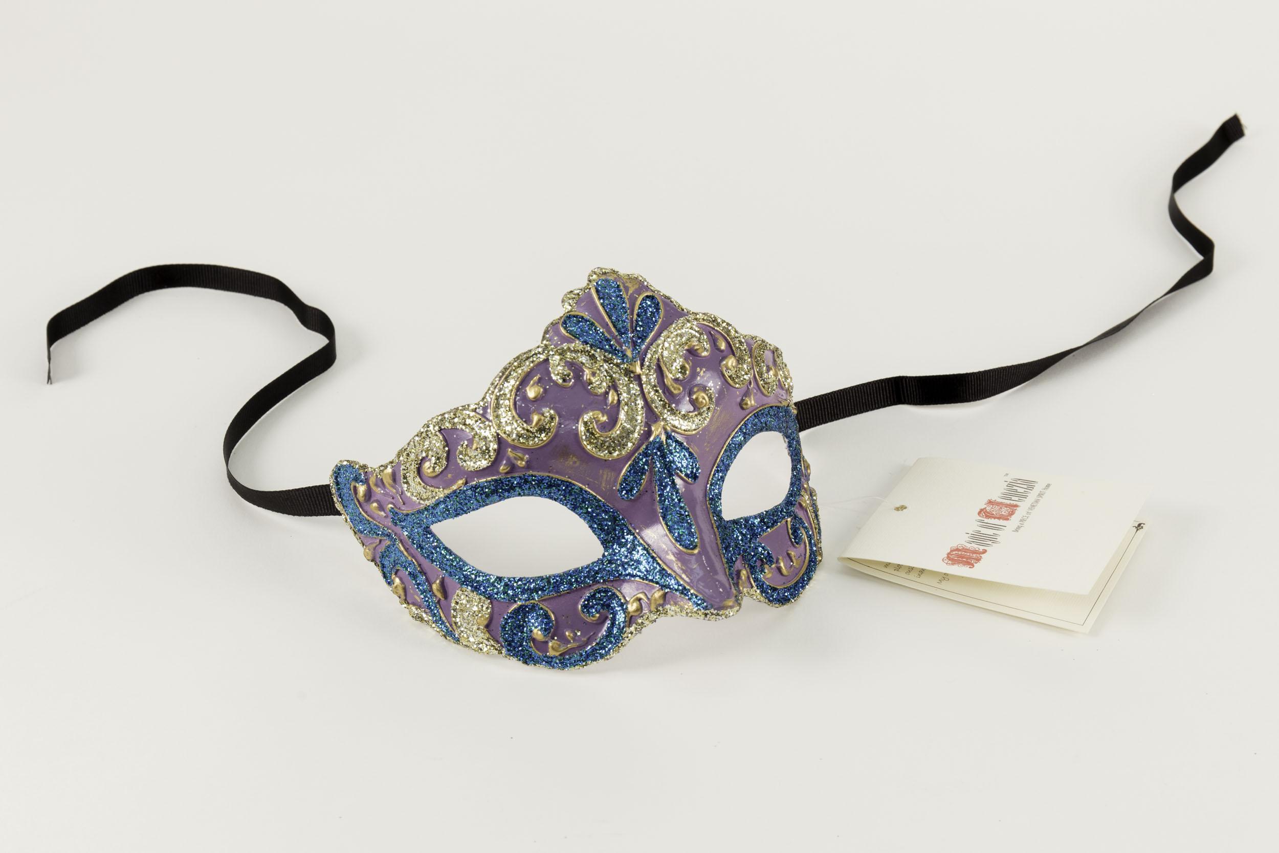 Colombina Liliana Venetian Purple/Blue Mask,C106N