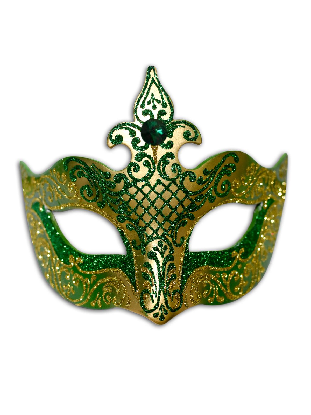 Colombina Vibia Venetian Green/Gold Mask,C101GRG
