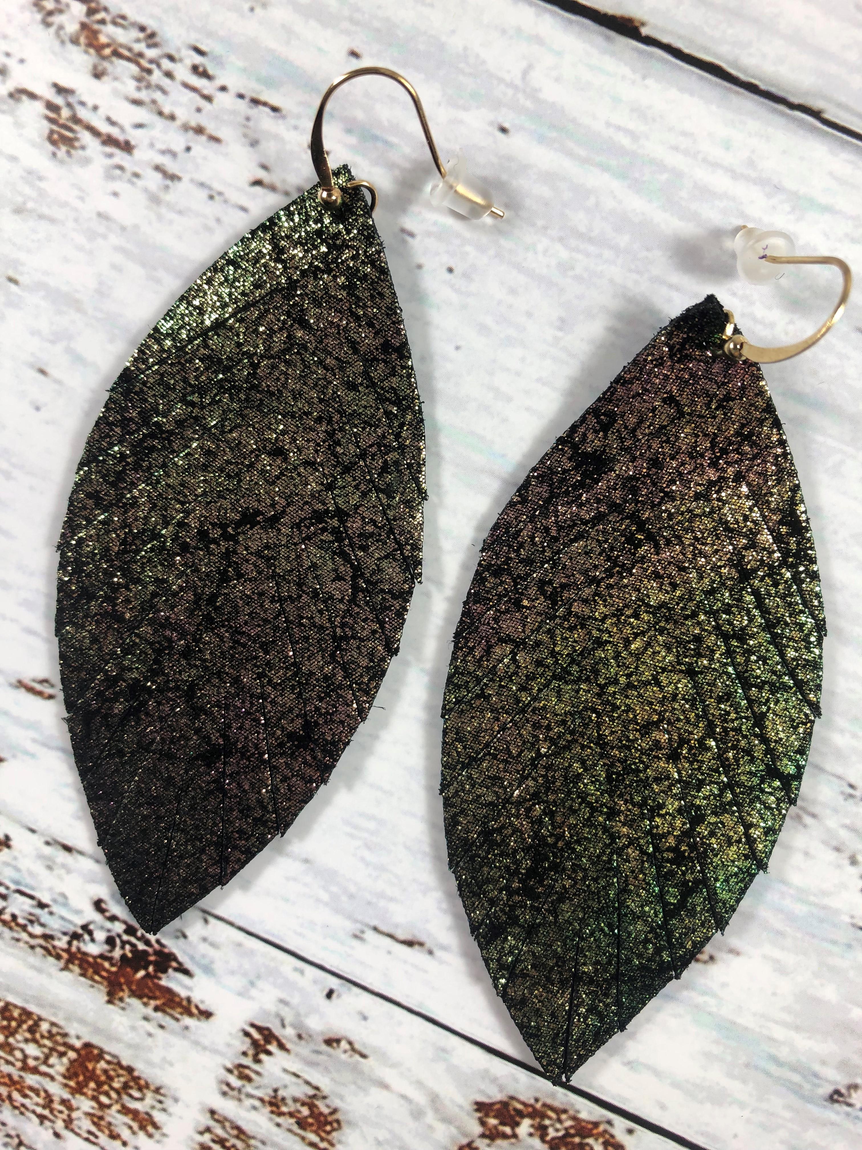 Mardi Gras Leather Feather Earrings