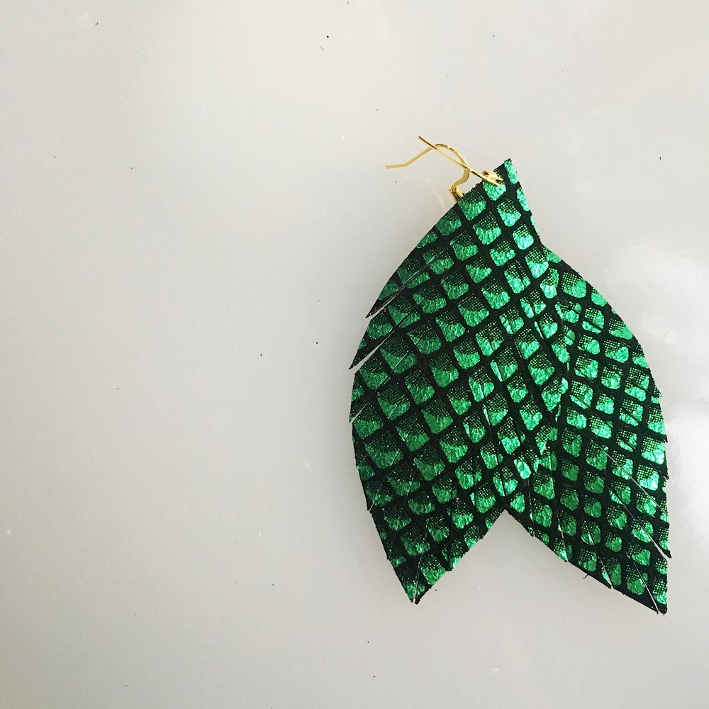 Green Dragon Leather Feather Earrings