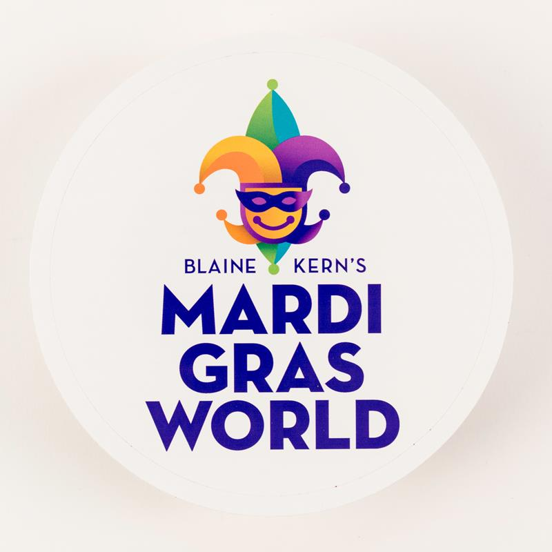 Mardi Gras World Logo Circular Sticker