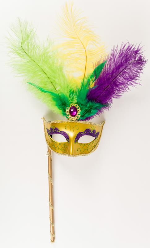 Purple, Green, and Gold Feather Mask with Handle,MASK MG5358 EA