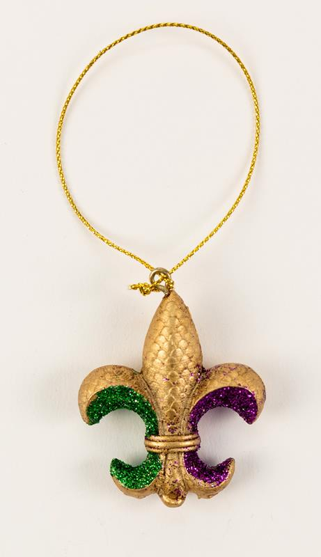 Small Mardi Gras Fleur de Lis Ornament,T112