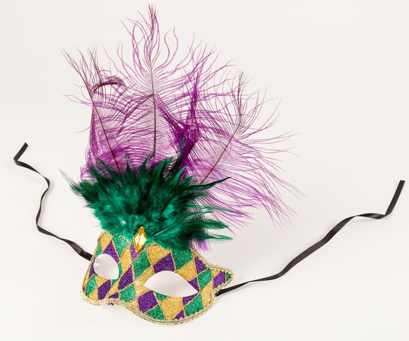 Purple, Green, and Gold Feather Glitter Mask,146